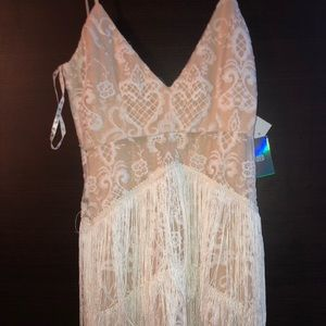 Fringe white dress brand new